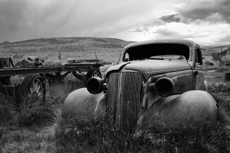 Bodie Ghost Town - Abandoned Car Stock Photo