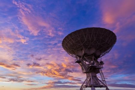 radio telescope: VLA Radio Telescope at Sunset Stock Photo