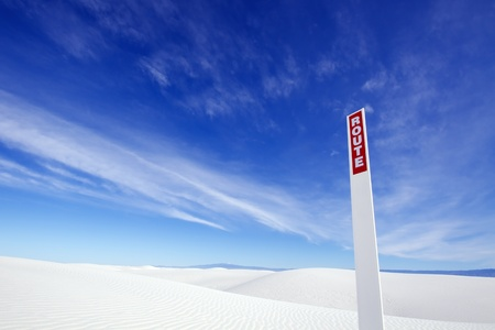 white sands national monument: Route Sign, White Sands National Monument Stock Photo