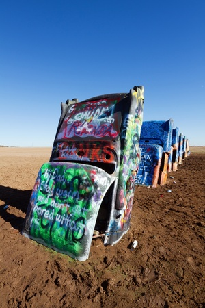 Amarillo, TX, USA - January 17, 2012 - Cadillac Ranch, a public art sculpture