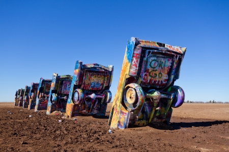 Amarillo, TX, USA - January 17, 2012 - Cadillac Ranch, a public art sculpture  Editorial
