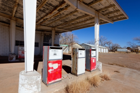 abandoned gas station: Abandoned Gas Station on Route 66 Stock Photo
