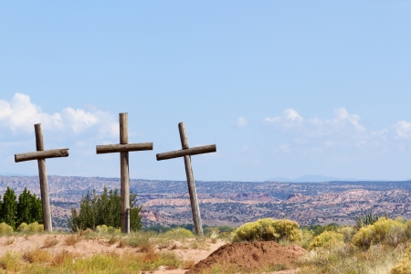 Three Old Wooden Crosses