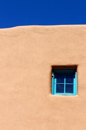 adobe wall: Blue Window su Adobe muro
