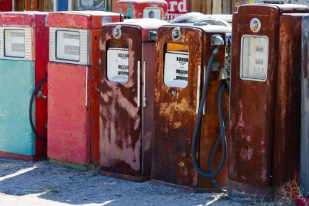 abandoned gas station: Old Gas Pumps