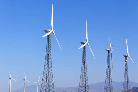 palm springs: Wind Turbines for Renewal Energy, Palm Springs, CA Stock Photo