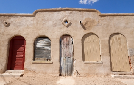 Old building with rustic doors and windows at historic district in Tucson, AZ  Stock Photo - 19814497