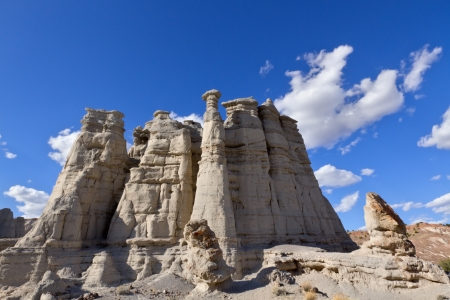 White sandstone rock formation known as the Plaza Blanca, located near Abiquiu, NM. This is where Georgia Okeefe painted some of her well known paintings.