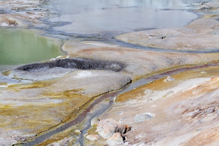 hydrothermal: Colorful geyser in Bumpass Hell - the hydrothermal area in Lassen Volcanic National Park, CA