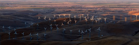 livermore: Wind Turbines in Altamont Pass Wind Farm at Sunset, California  Stock Photo