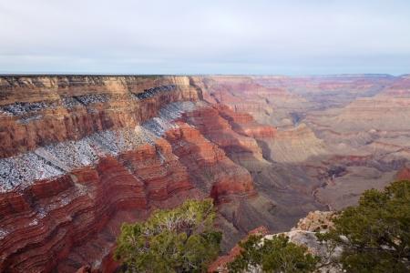 rock strata: Snow on the South Rim of Grand Canyon, Grand Canyon National Park, AZ