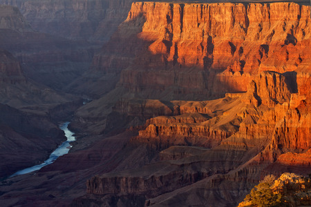 Colorado river from desert view point at sunset, Grand Canyon National Park, AZ  Stock Photo