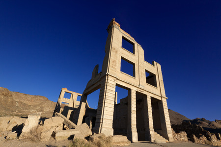 gold rush: Old Bank Building, Rhyolite Ghost Town near Death Valley, Nevada