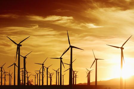 黄金の夕日は、パーム スプリングス, カリフォルニア州の風力タービン