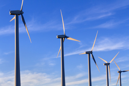 wind turbines: Wind Turbines with blue sky and clouds, Palm Springs, CA Stock Photo