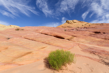 rock strata: Colorful sandstone rock formation called Pink Canyon Valley of Fire State Park NV Stock Photo