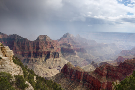 Summer storm over the Grand Canyon North Rim Stock Photo