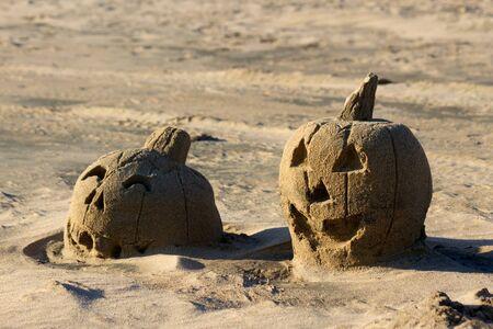 jack o lantern: Sand Sculpture of Jack O Lantern Pumpkins