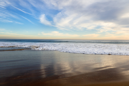 orange county: Sky reflecting on the beach at sunset, Orange County, California. Stock Photo