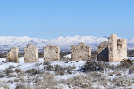 commanding: Fort Craig Commanding Officers Quarters Ruin in Winter, New Mexico