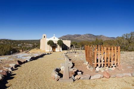 catholic chapel: San Francisco de Asis Church in Golden along the Turquois Trail, New Mexico Stock Photo