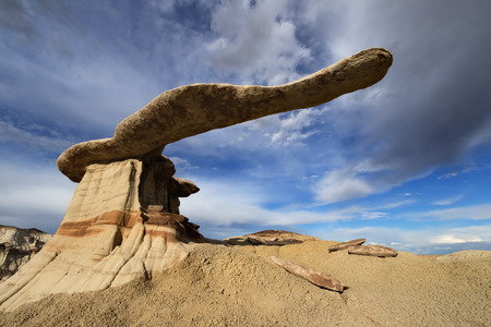 King of Wings rock formation under stormy sky, Ah-Shi-Sle-Pah Wilderness, New Mexico