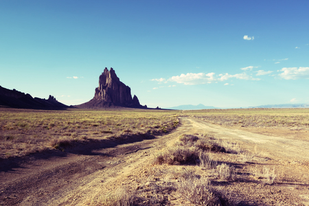 Shiprock, New Mexico with Vintage Effect Stock Photo