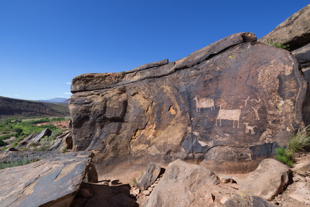 Bighorn sheep rock art at Anasazi Ridge Petroglyphs near St. George, UT