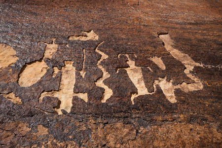 Canaan Gap petroglyphs located near the border of Utah and Arizona Stock Photo
