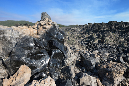 Big Obsidian Flow Trail, Newberry National Volcanic Monument near Bend, Oregon Stock Photo