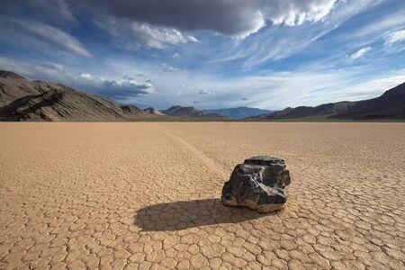 Moving rock on Racetrack Playa, Death Valley National Park, CA Stock fotó