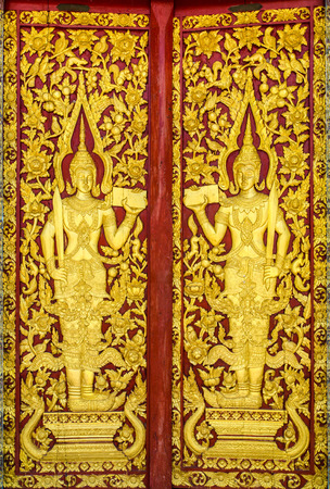 woodcraft: Pattern of church door in temple Thailand.