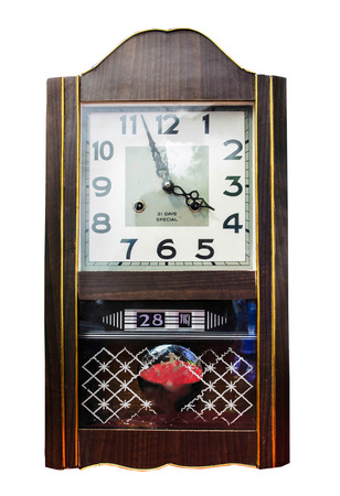 wooden clock: Antique wooden clock isolate on white background