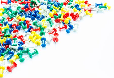 yellow tacks: Set of push pins in different colors,isolated on white background.