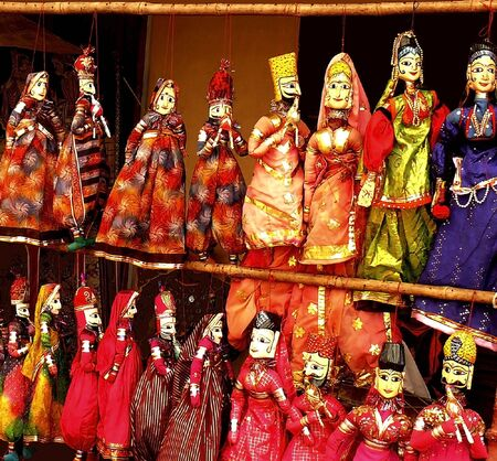 rajasthan: Closeup Of  colorful puppets Stock Photo