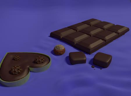 rendering: Chocolate bars 3D rendering Stock Photo