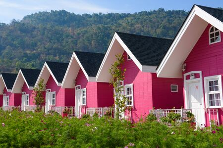 housing prices: Single pink house with brown roof and blue sky connecting in same row