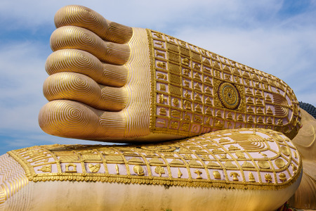 Big Buddha: Foot print big statue of reclining buddha image in the temple, Phrae province Thailand Stock Photo