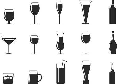 set of drink glasses in the form of icons for design Illustration