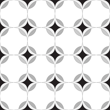 Seamless geometric pattern. The texture in the form of tiles with rhombus, circles and petals are colored in black and white. vector