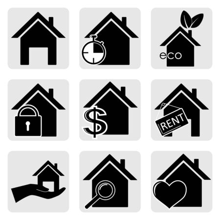 Houses vector web icons set Illustration
