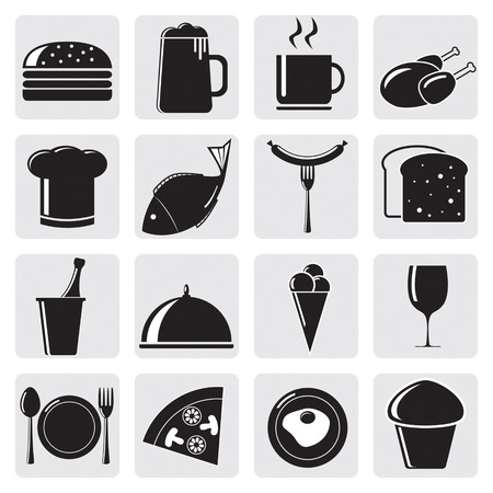 fruitcakes: Vector set of black icons with food
