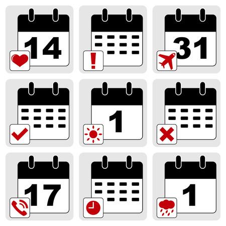 sharpening: Vector set of calendar icons