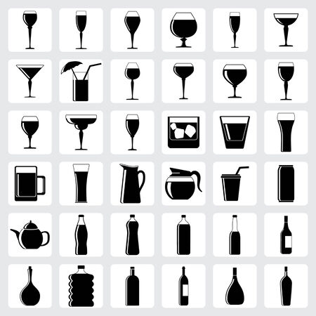 set of drink glasses in the form of icons for design Vector