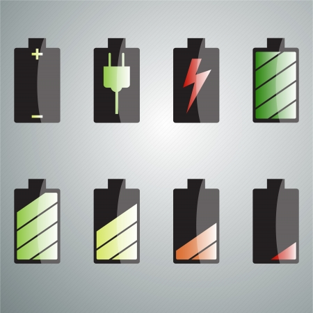 Charging the battery set of colored icons. Multi-colored LED charge. vector Vector