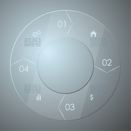 Glass infographic. Transparent glass plates. vector Vector