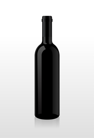 wine bottle: Bottle of wine, blank harvesting, without stickers. Vector.