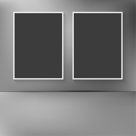 Two blank frames hanging on the wall with abstract blurred background. For text, images and photos Vector