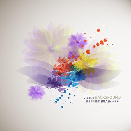 verde y morado: Azul, verde, las manchas de tinta de color p�rpura en el papel blanco y flores de colores y p�talos. Resumen de antecedentes para el dise�o vebsayna moda, folletos, banners