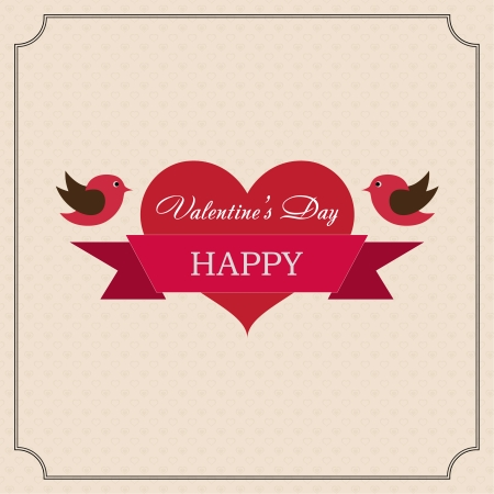 Greeting card Happy Valentines Day in the old style frame. Hearts with ribbon and two birds with a festive mood on a light yellow background